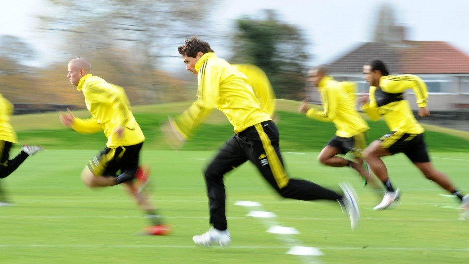 Liverpool's Fernando Torres hits a top  speed sprint at training
