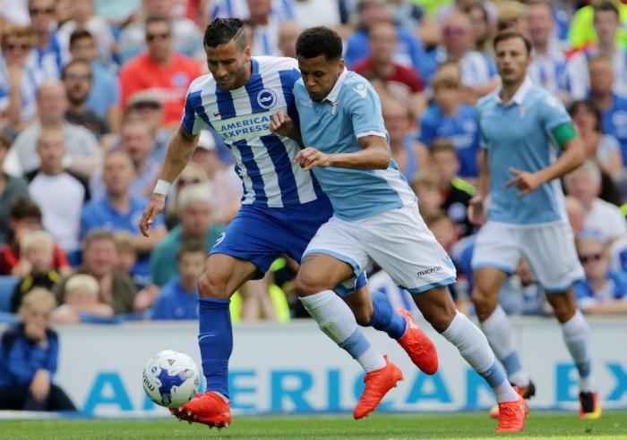 Ravel Morrison in action for Lazio against Brighton