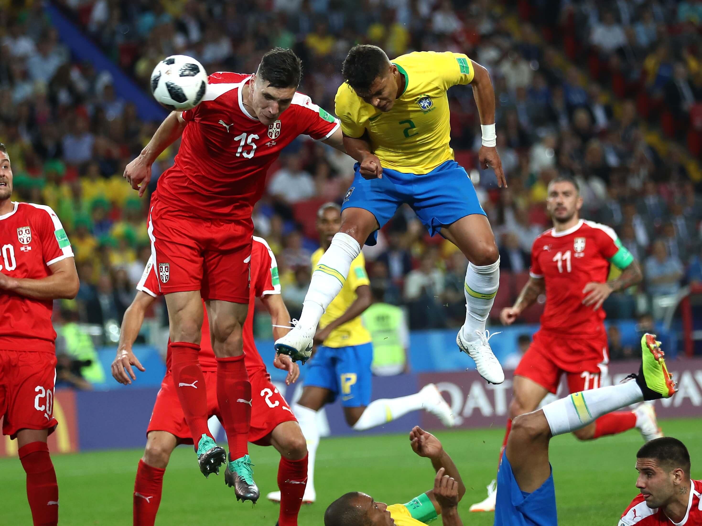 Thiago Silva playing for Brazil.
